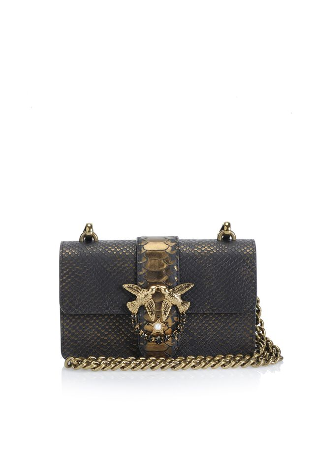 Python print leather Mini Love Bag