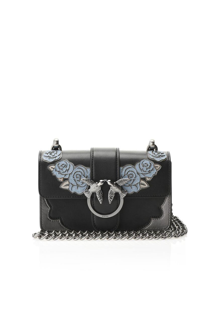 Mini leather love bag with appliqués