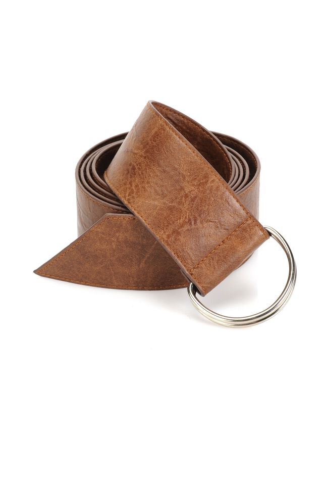 Faux leather belt with vintage finish