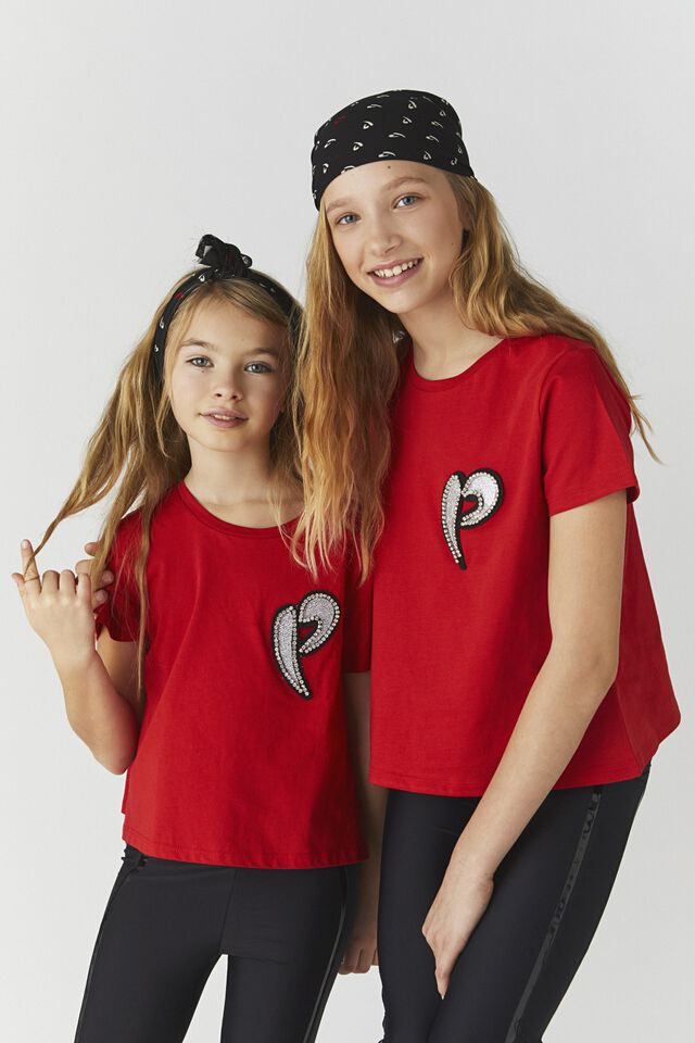 Jersey T-shirt with rhinestones and glitter