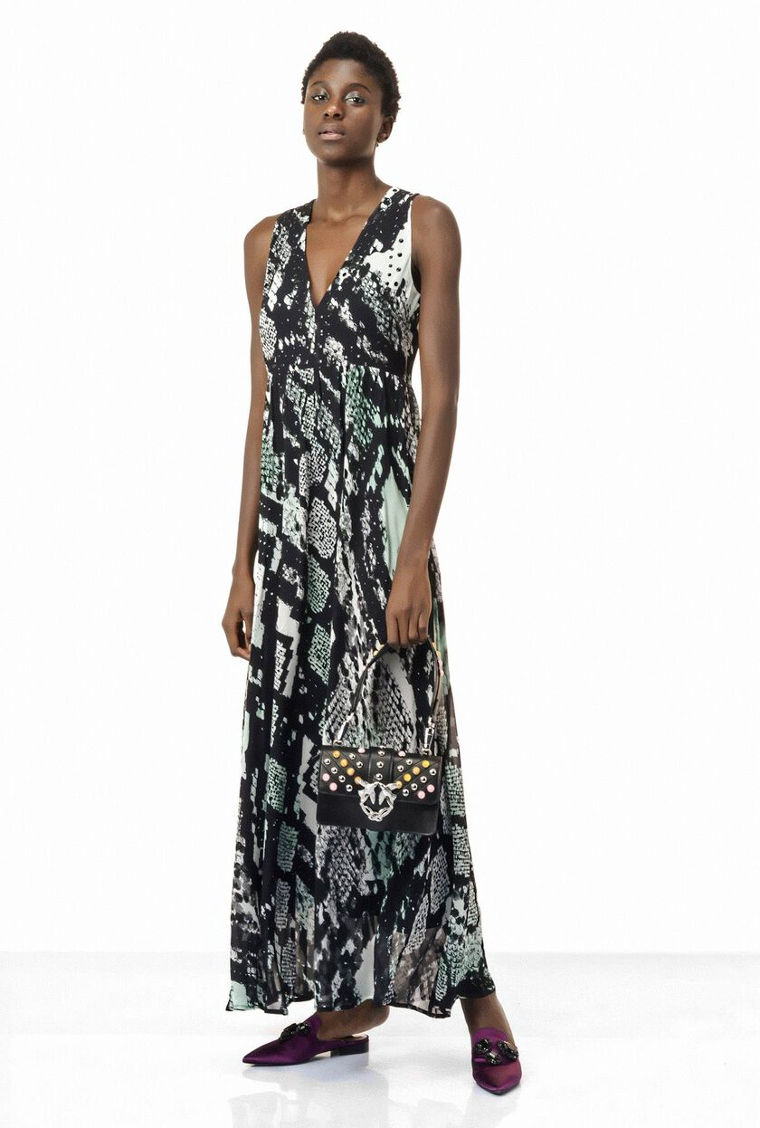Dress in python-print silk georgette