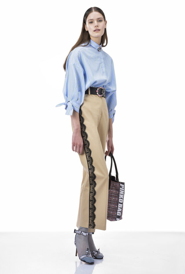 Cropped trousers in luxury sateen with lace