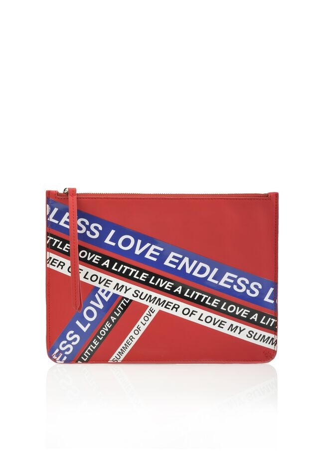 Rubber-coated effect pouch bag with shiny print