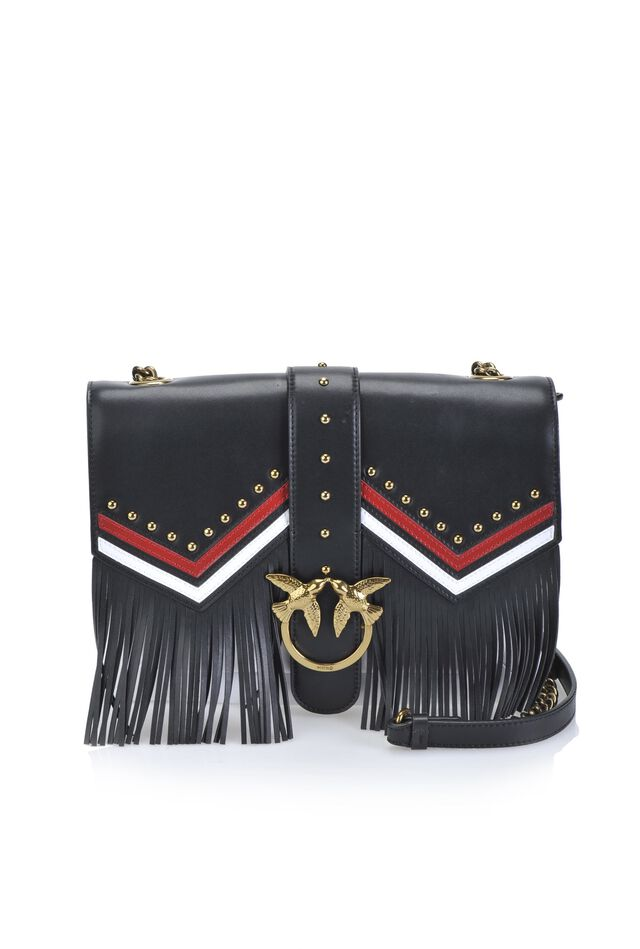 Leather Big Love Bag with fringes