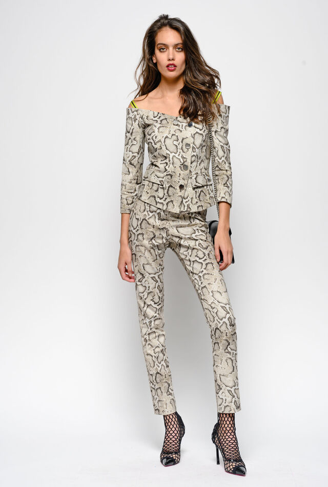 Skinny-fit trousers in snake print ottoman