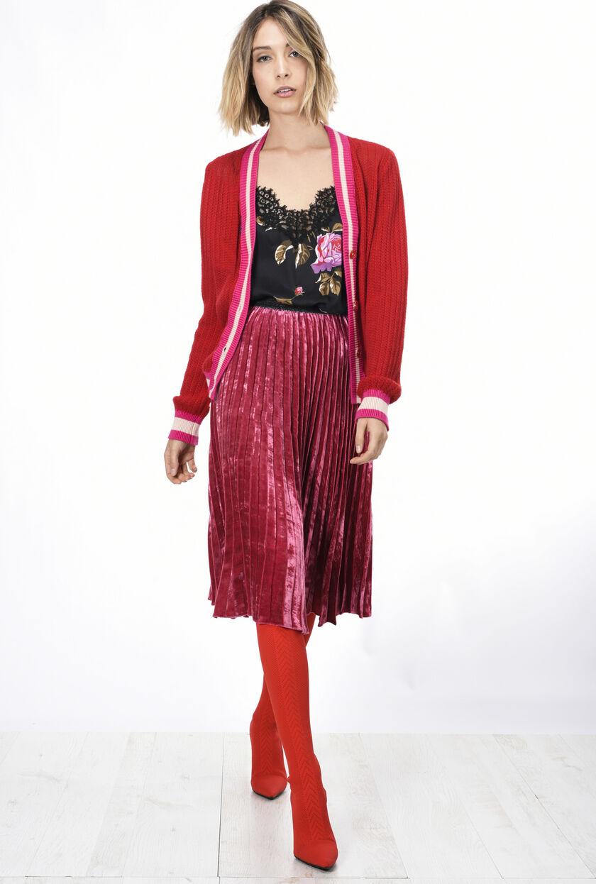 Pleated Velvet Skirt