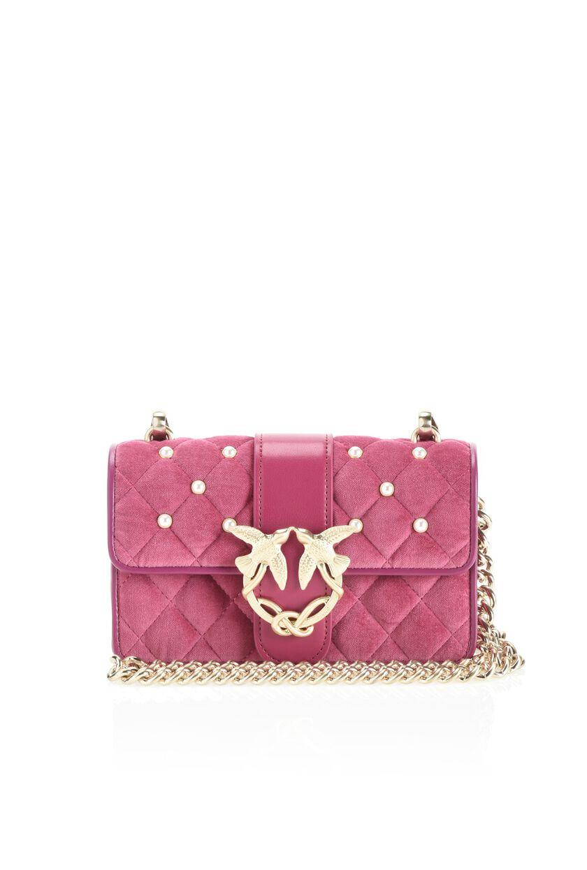 Velvet mini Love Bag with bejewelled buckle