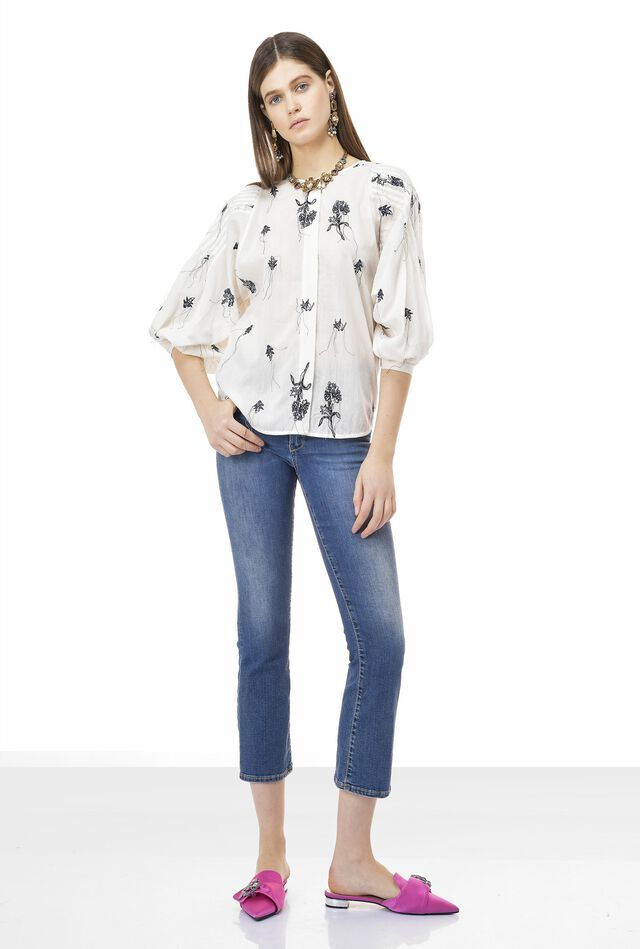 Cotton muslin blouse with embroidery