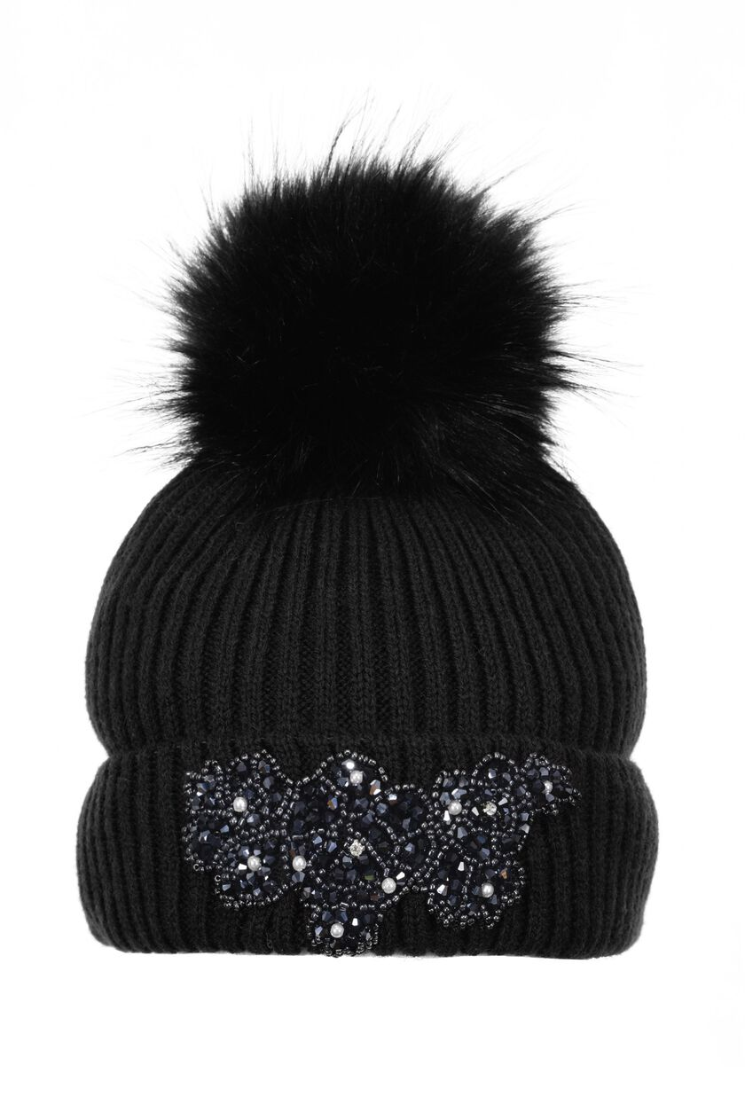 Hat with crystal embellishment