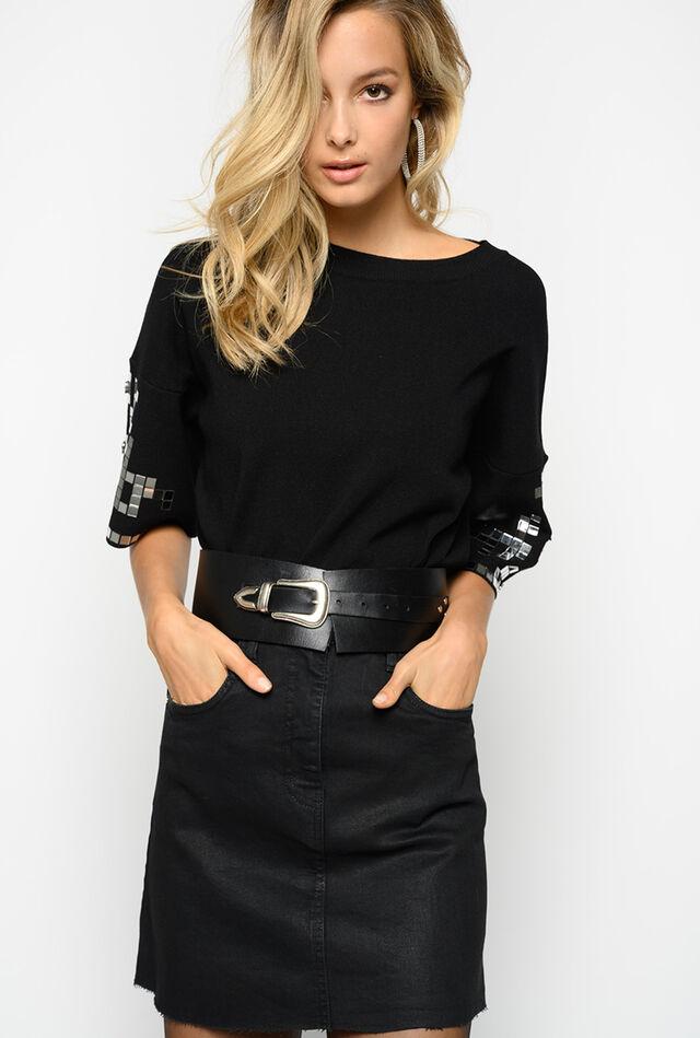 Miniskirt in black comfort twill