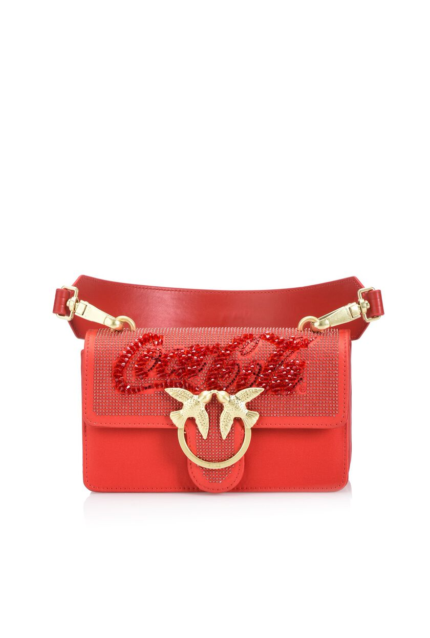 Leather shoulder bag with rhinestones and diamond-bright flecks