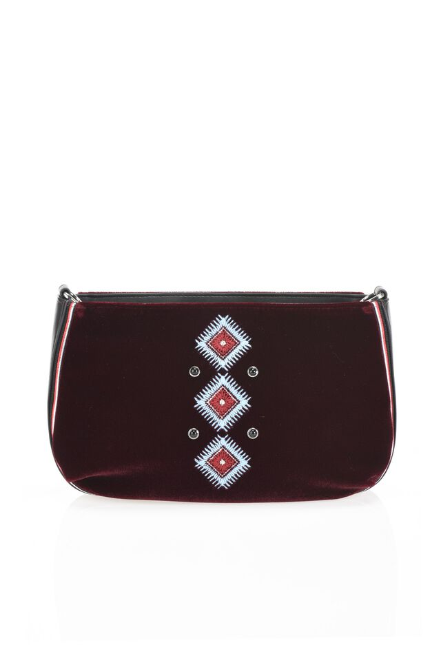 Velvet clutch with Navajo embroidery
