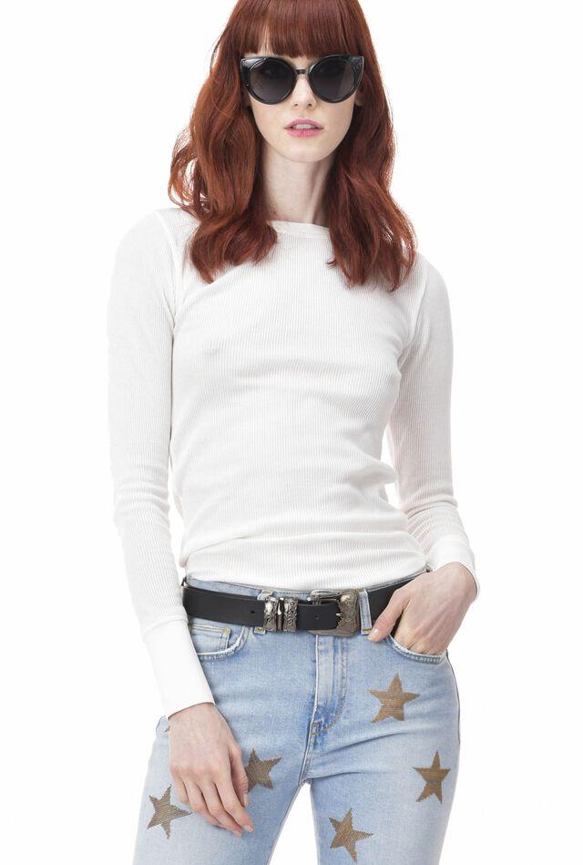 Long-sleeve T-shirt in textured rib knit