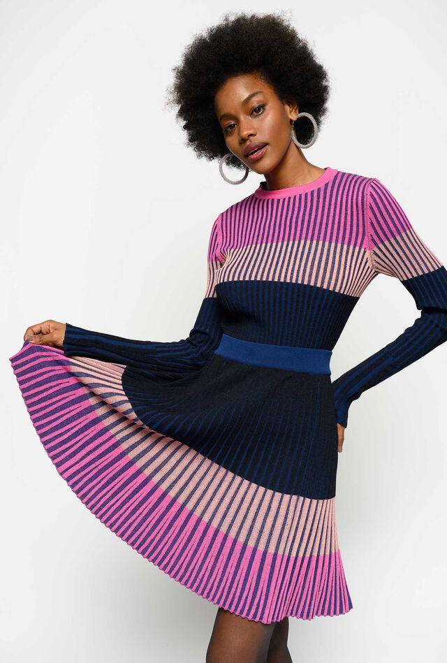 Falda de punto colour block