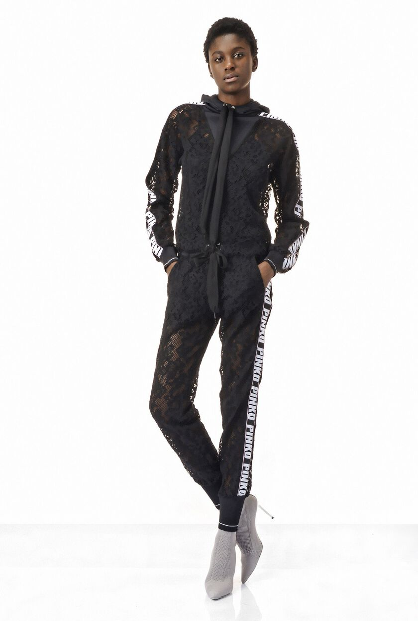 Jogger pants in rebrode lace