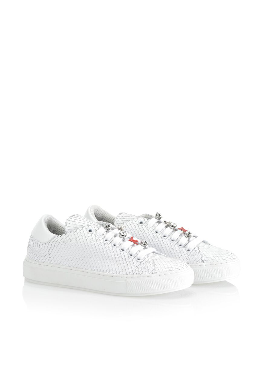Fretted python print leather sneakers with bejewelled details