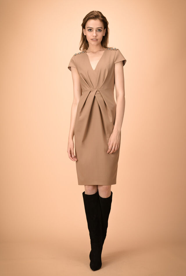 Midi dress in stretch wool