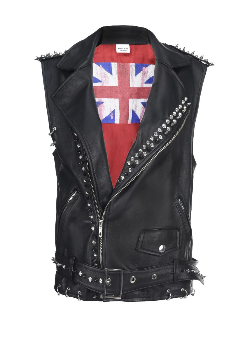 Sleeveless leather jacket with studs