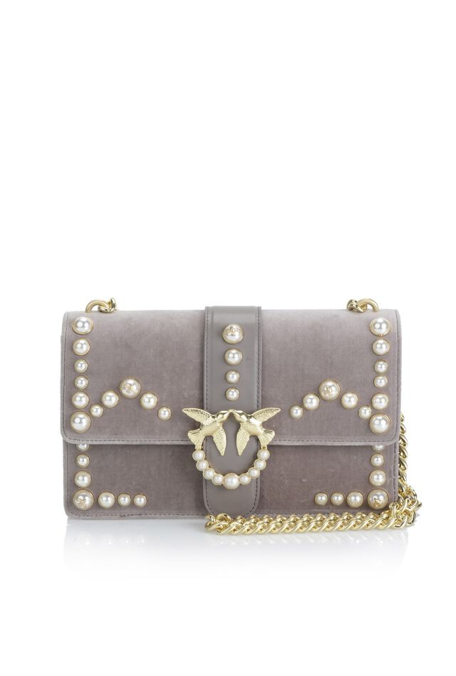 Velvet Love Bag with pearls and gold chain