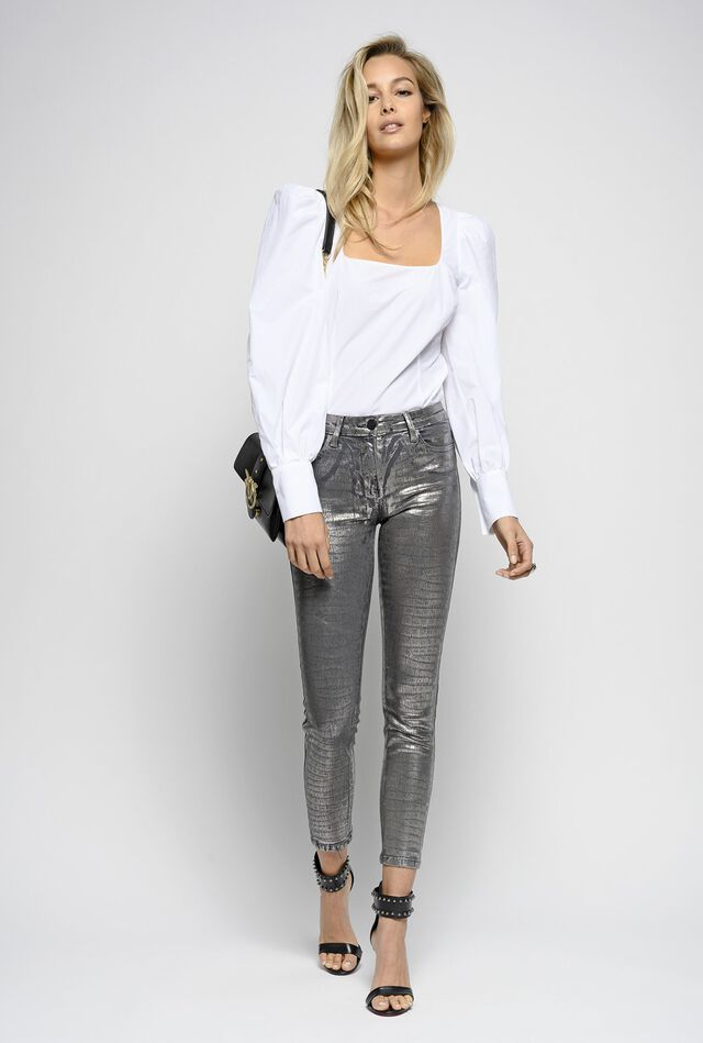 Skinny-fit trousers in crocodile-printed silver denim