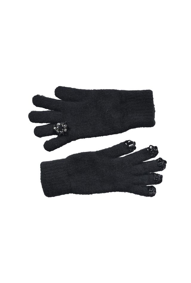 Wool gloves embroidered with sequins