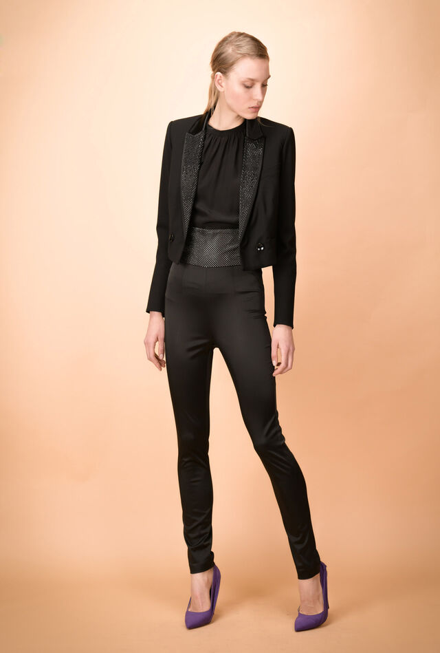 Spencer jacket in technical bi-stretch wool with sequins
