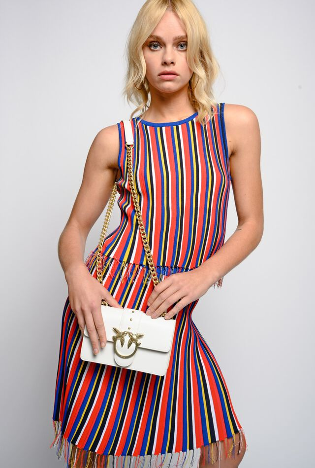 Multicolour stripe top with frayed hem