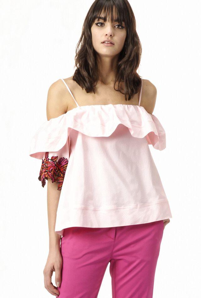 Blusa con hombros al descubierto de popelina con bordados en las mangas