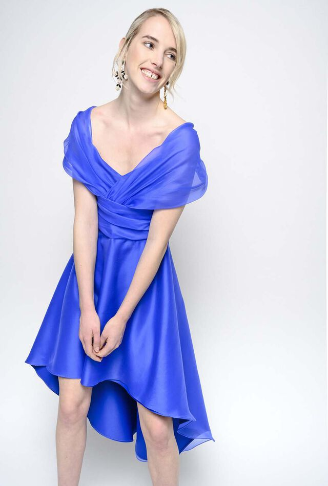 Dress in silk organza with feature draping