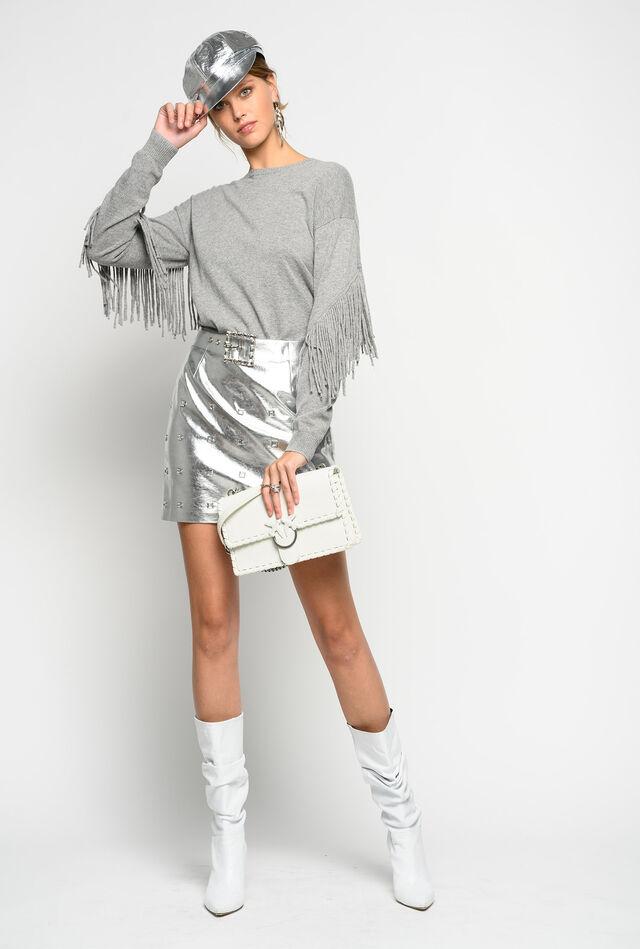 Laminated mini skirt with studs