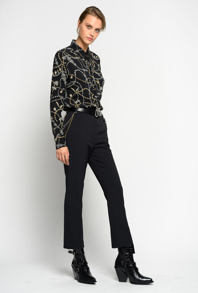 Trousers with jewelled chain
