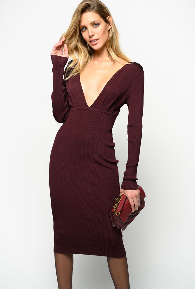 Plunge neck knit dress