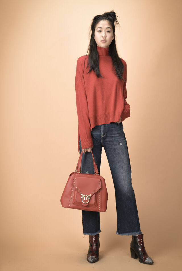 High-neck wool and cashmere top