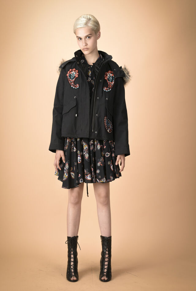Cotton parka with bejewelled patches