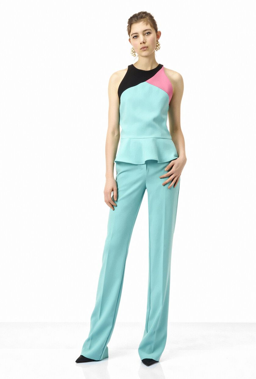 Wide-leg crepe trousers