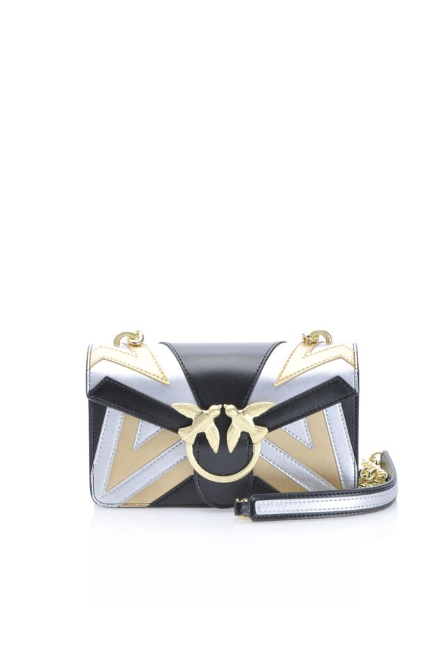Mini Love Bag Chevron in pelle laminata