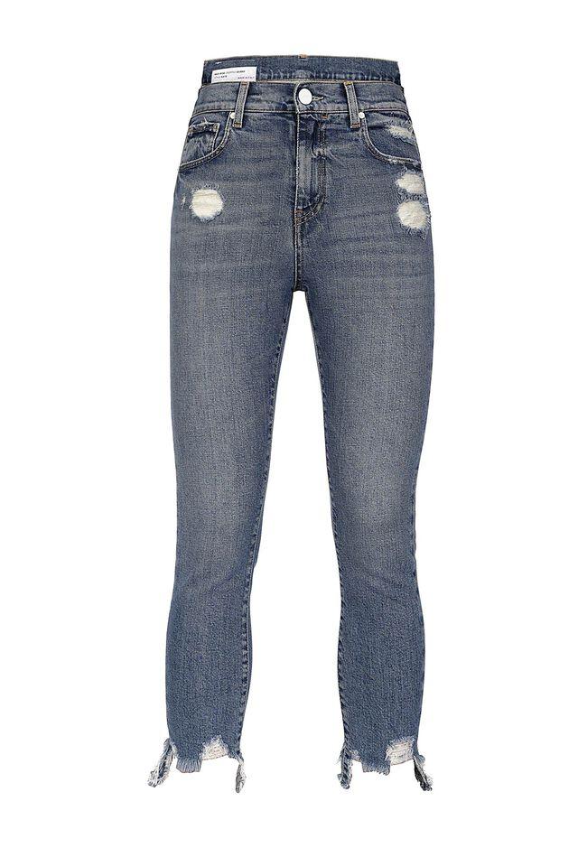 Jeans skinny con vita asimmetrica