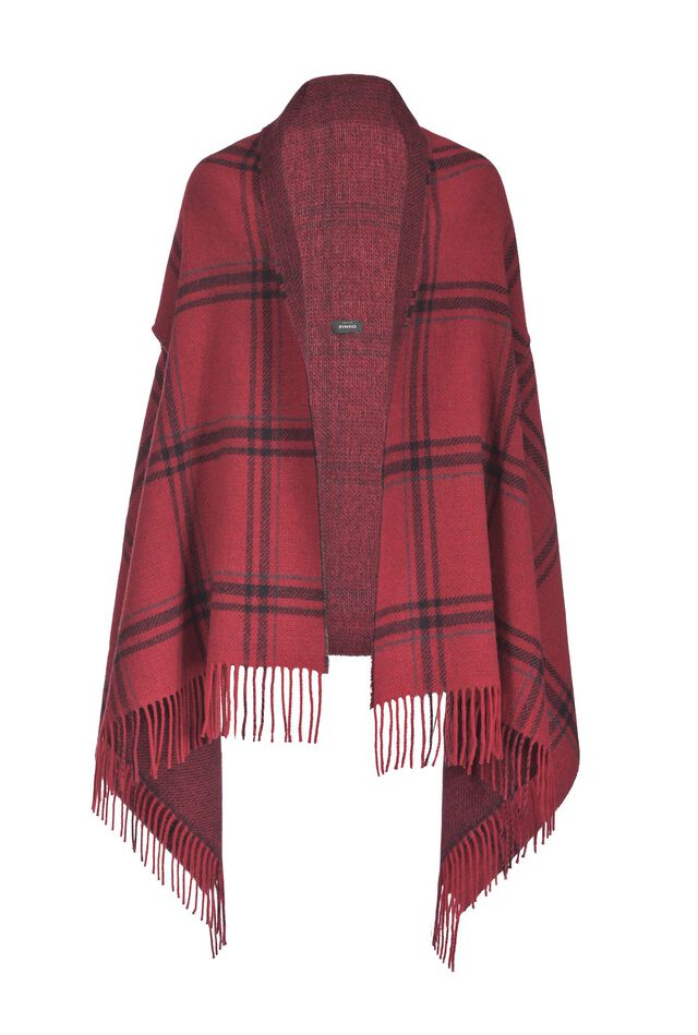 Maxi check stole with fringes