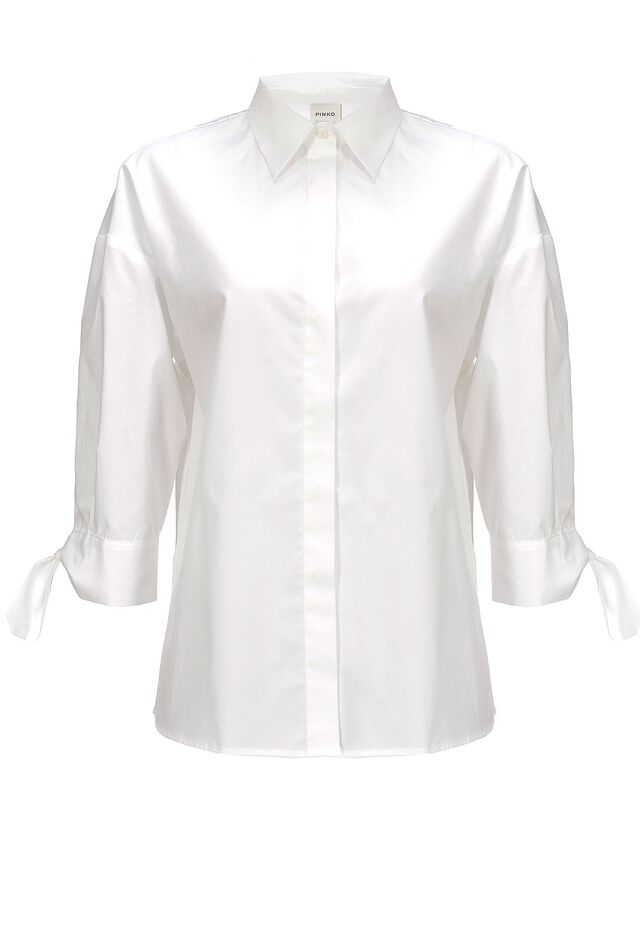 Stretch cotton poplin oversized shirt