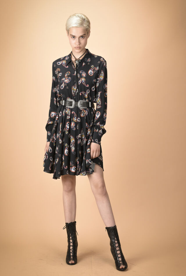 Paisley pattern shirtwaister dress