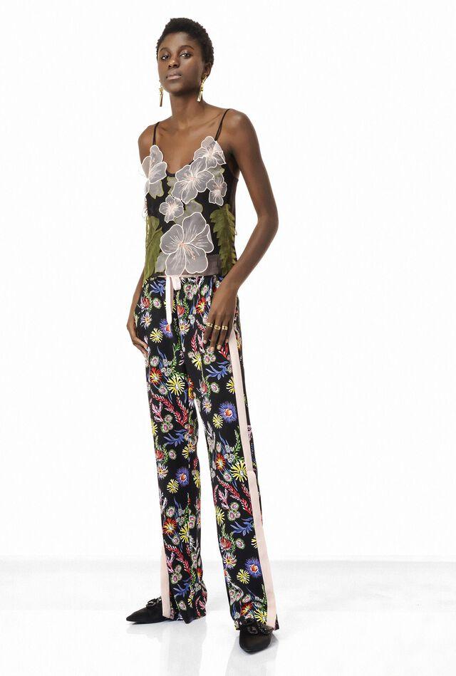 Pantaloni in crêpe stampa floreale