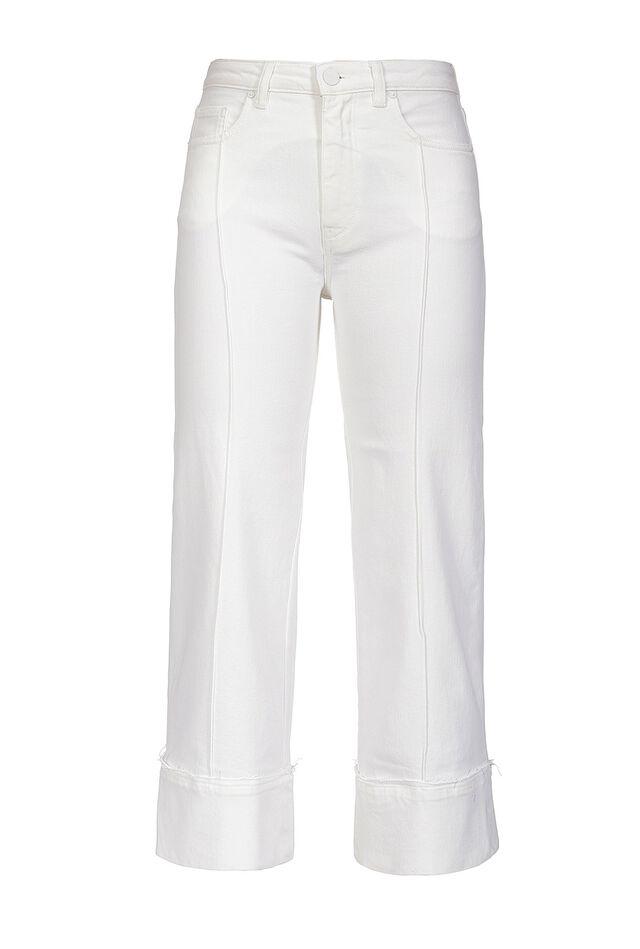 Pantaloni cropped in bull di cotone