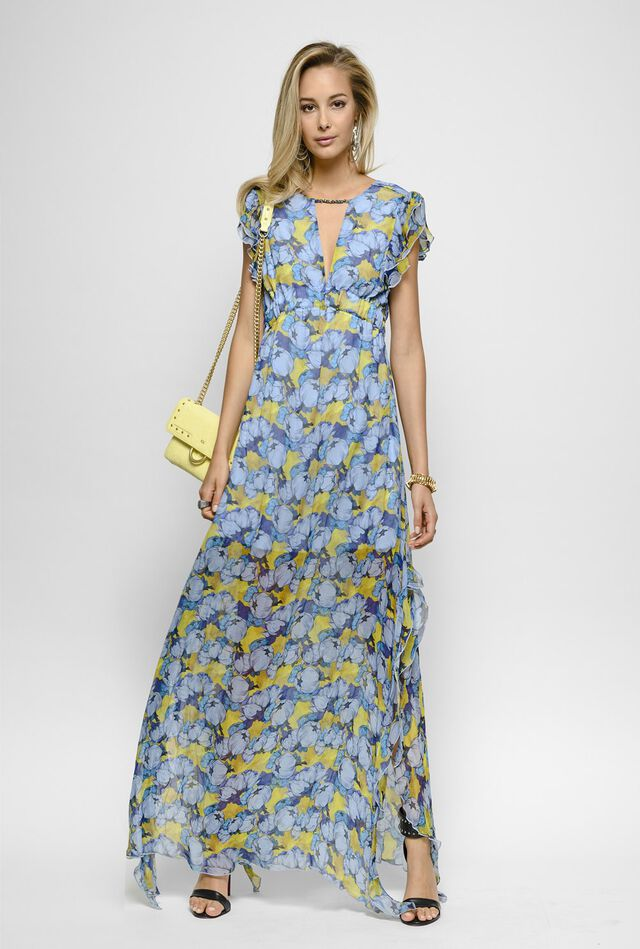 Long peony print crepon dress