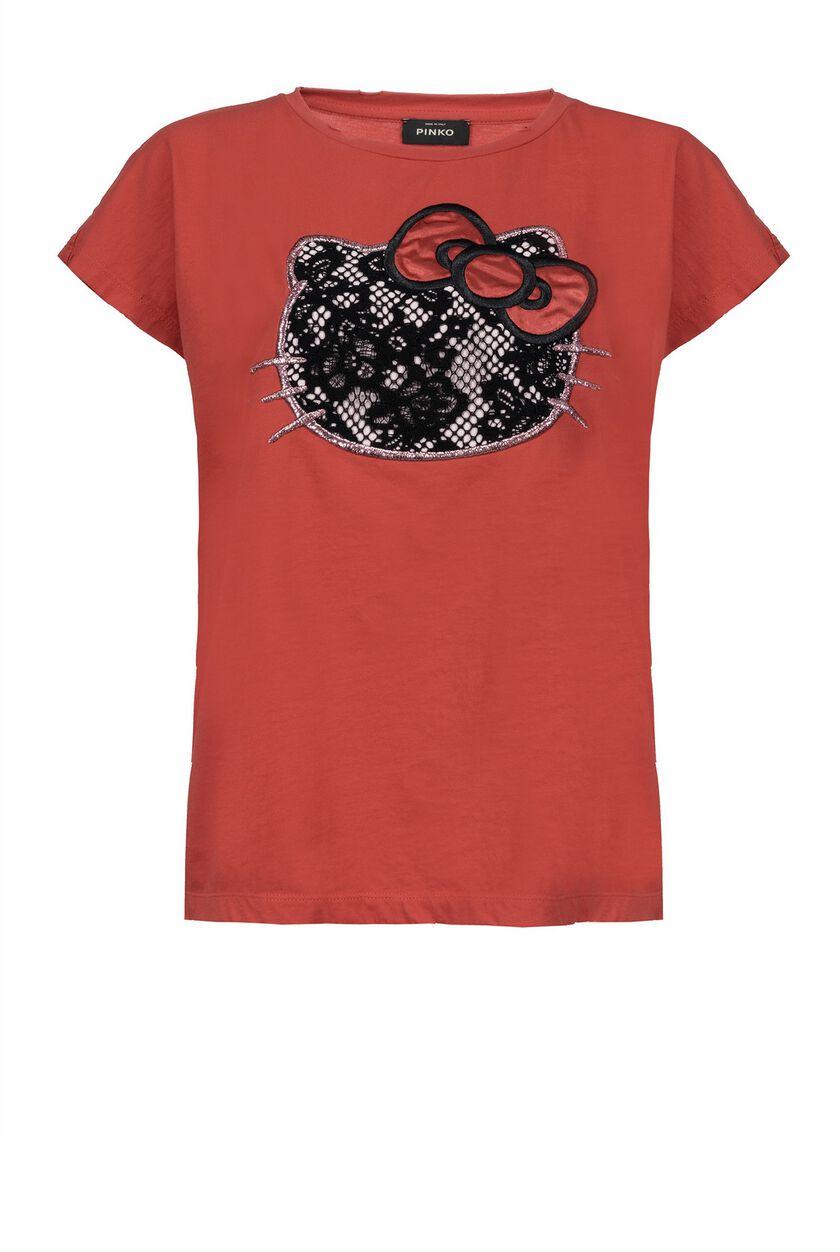 Camiseta de punto liso de algodón con decoraciones bordadas