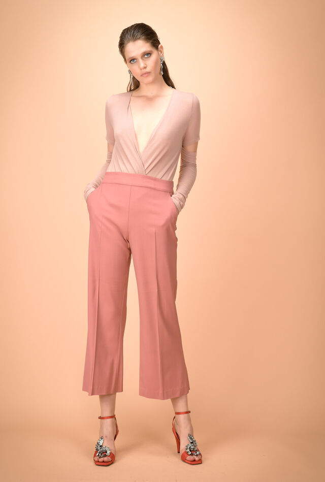 Flared trousers in bi-stretch technical wool
