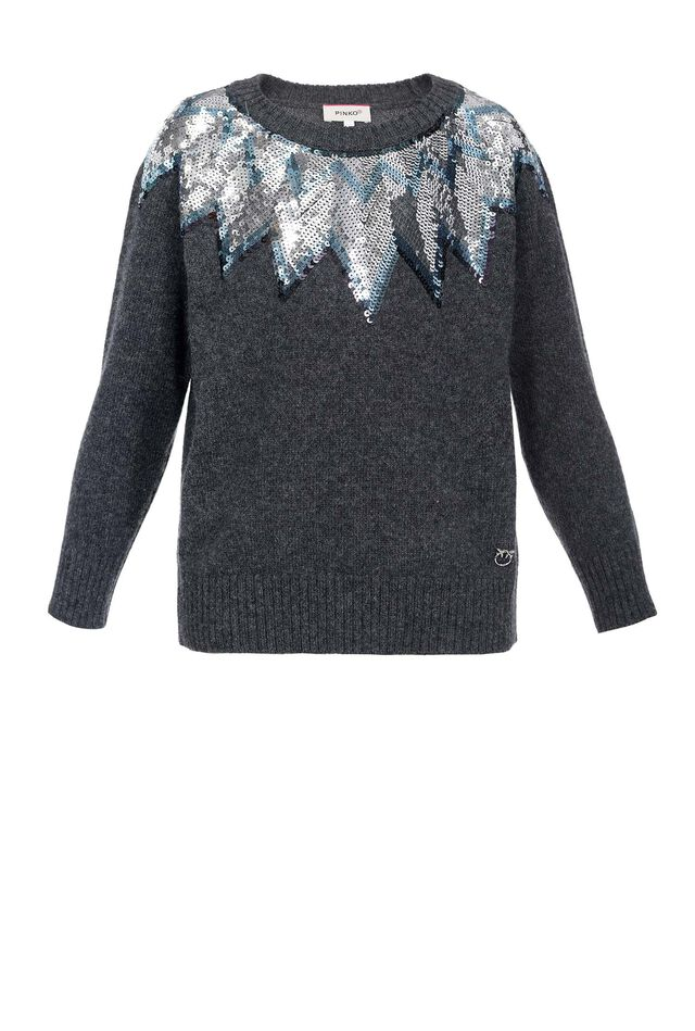 Sequin embroidered pullover