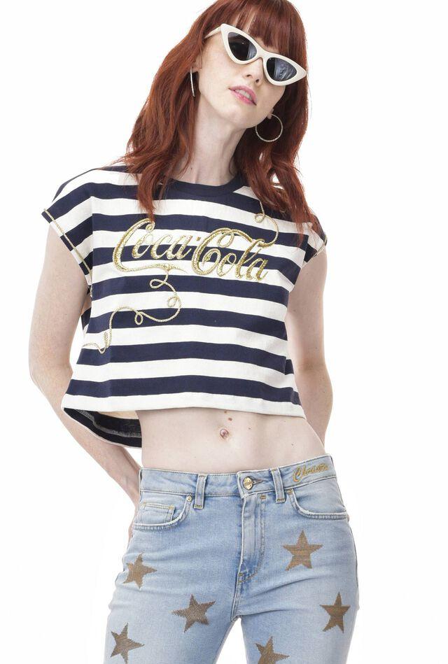 Camiseta de punto liso grueso de rayas y bordado