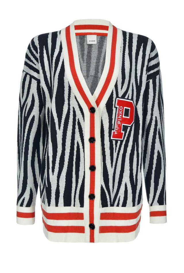Cardigan in lana e cachemire jacquard disegno zebra