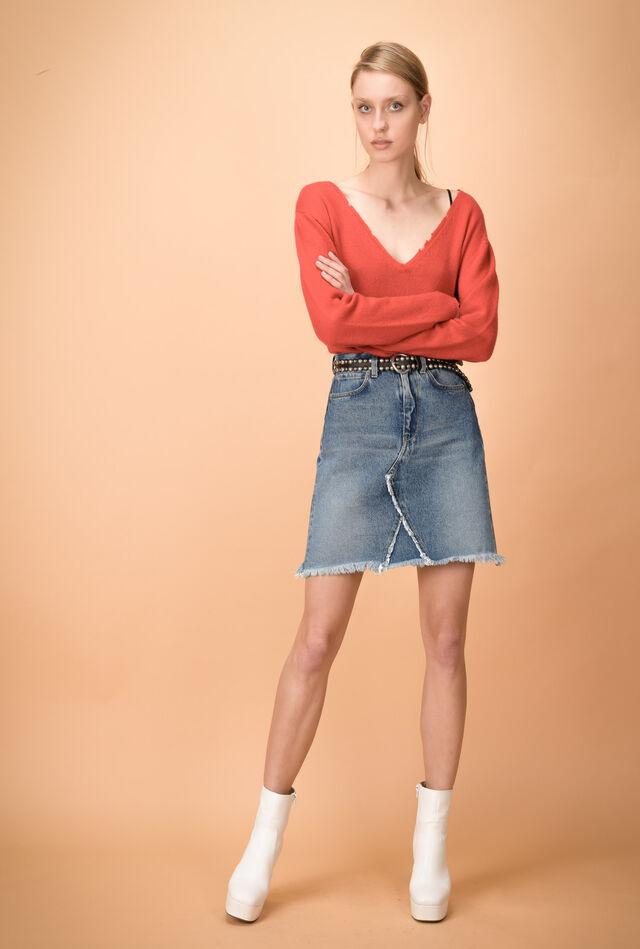 Gonna di jeans con profilo sfrangiato