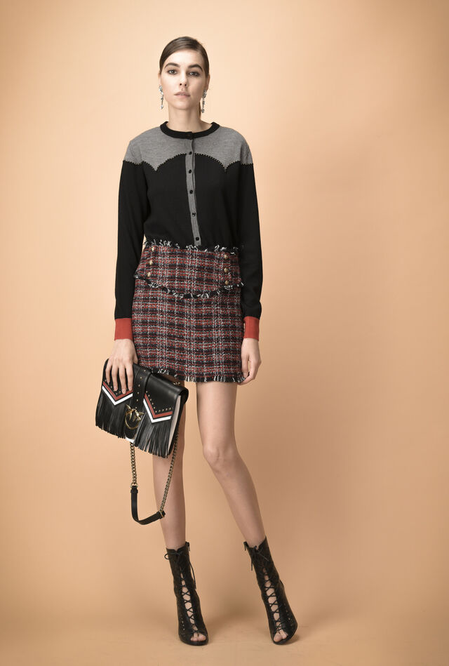 Cardigan with studs and intarsia in wool